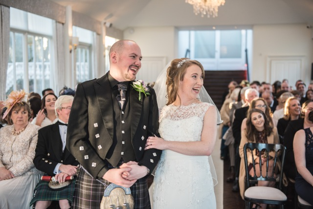 Wedding Ceremony conducted at Carlowrie Castle in Edinburgh by Onie Tibbitt, Independent Wedding Celebrant