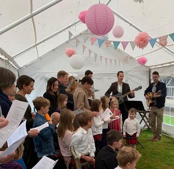 Onie Tibbitt, Edinburgh-based Naming Ceremony Celebrant, conducts a joyful Naming Ceremony.
