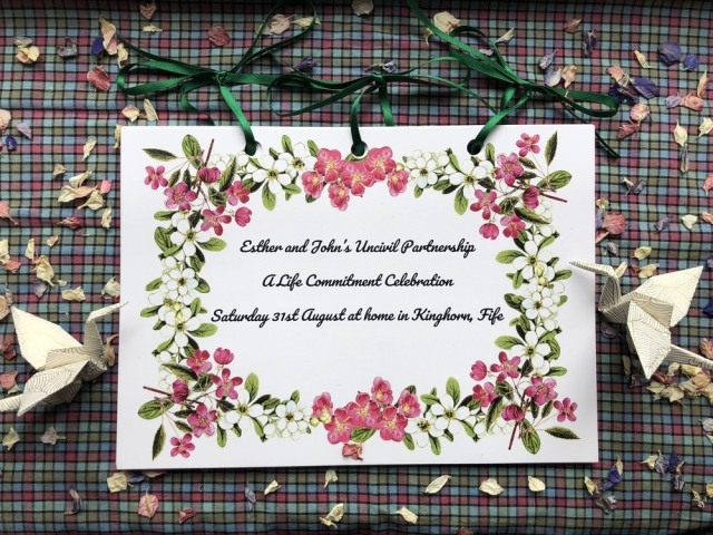 Onie Tibbitt, Edinburgh Celebrant, creates beautiful keepsake ceremony cards for the families she works with.